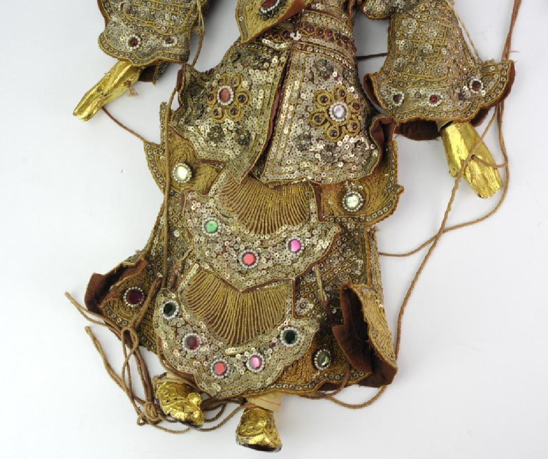 Antique Thai Carved Gilt Wood Jeweled Puppet - 2
