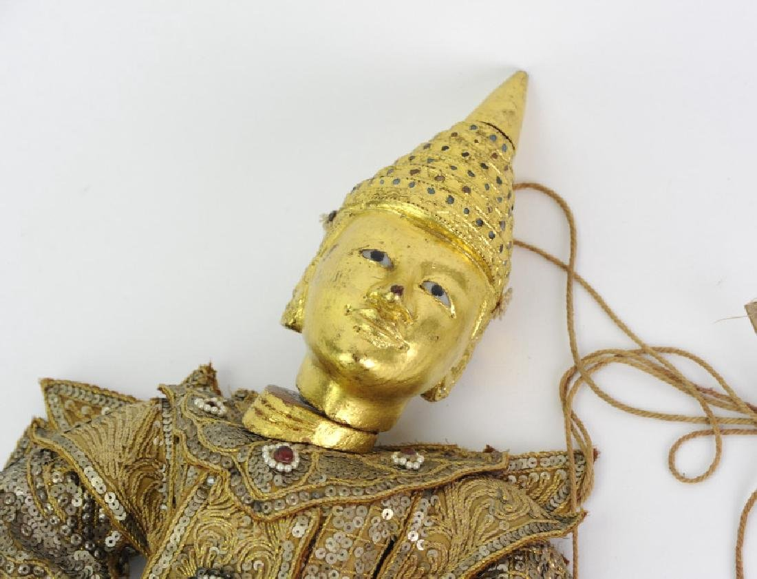 Antique Thai Carved Gilt Wood Jeweled Puppet - 4