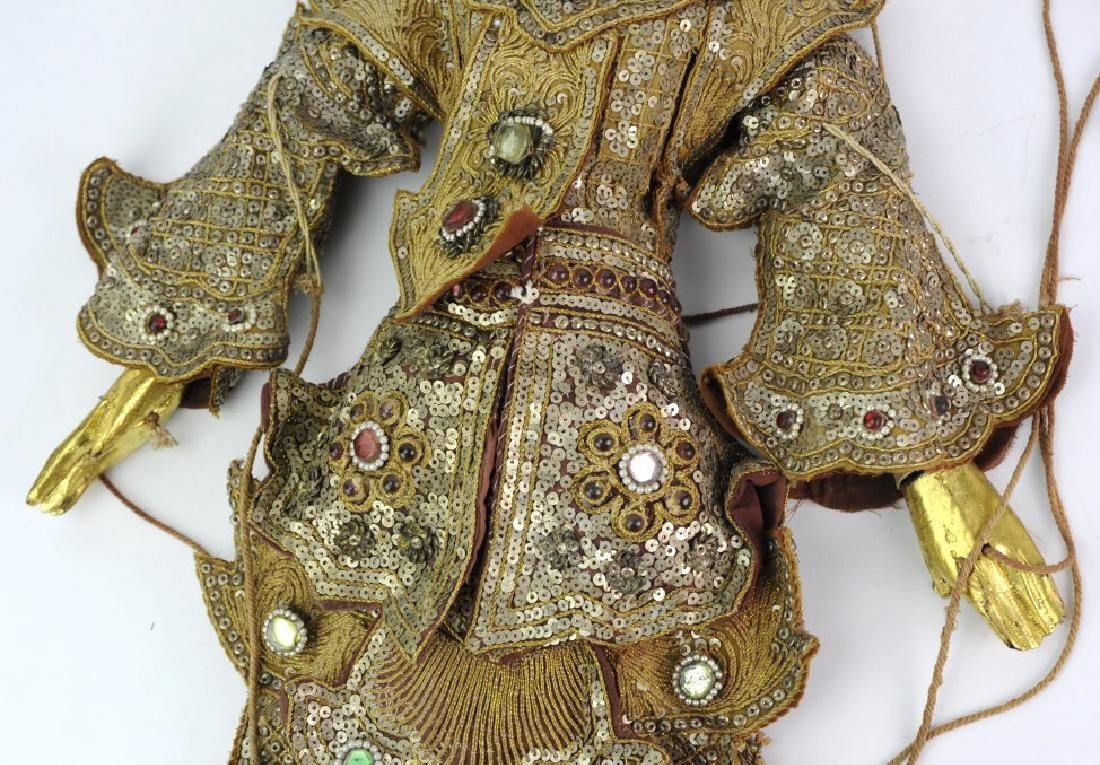 Antique Thai Carved Gilt Wood Jeweled Puppet - 5