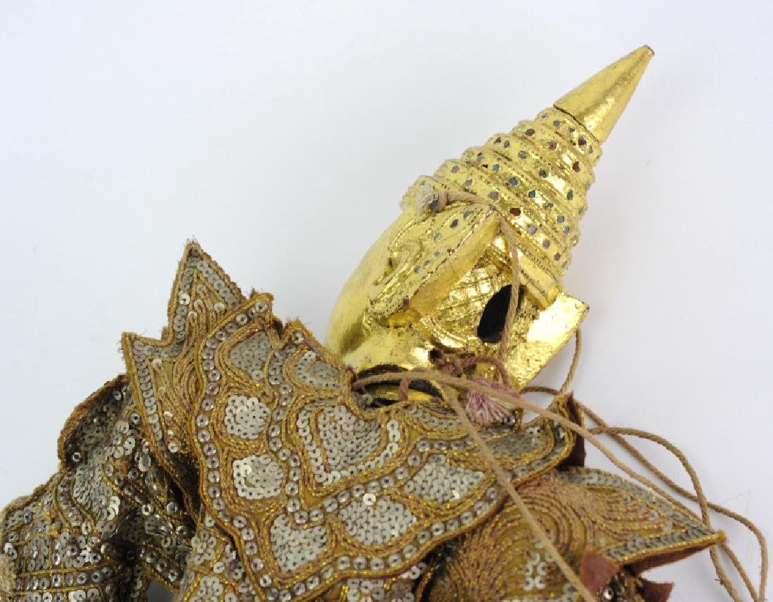 Antique Thai Carved Gilt Wood Jeweled Puppet - 6