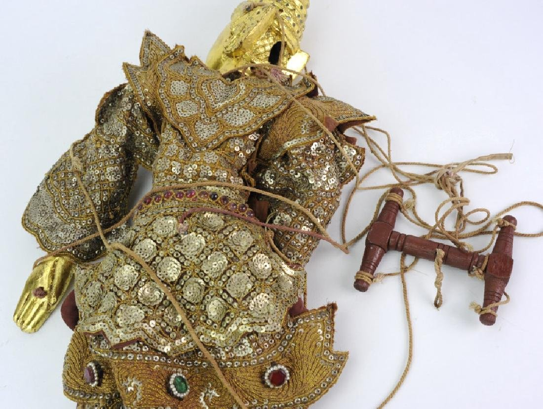 Antique Thai Carved Gilt Wood Jeweled Puppet - 7