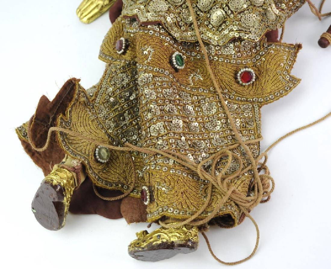 Antique Thai Carved Gilt Wood Jeweled Puppet - 8