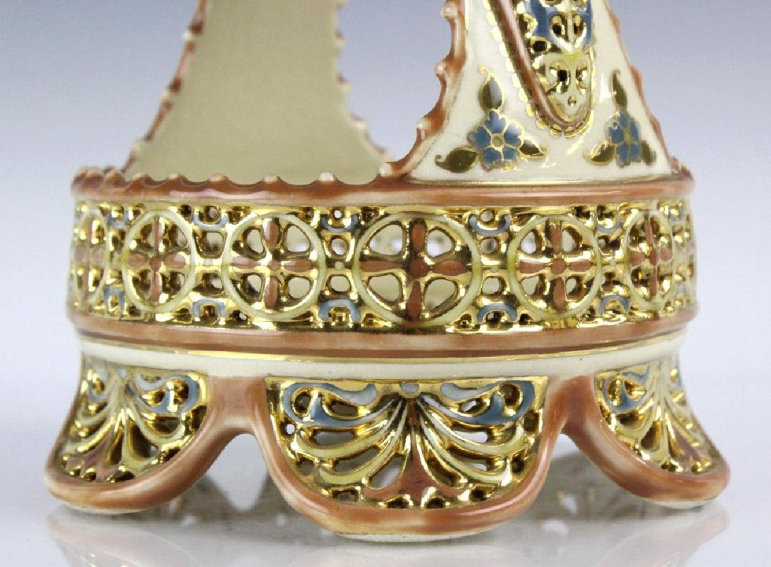 Fine Zsolnay Gilt Floral Reticulated Centerpiece Basket - 9