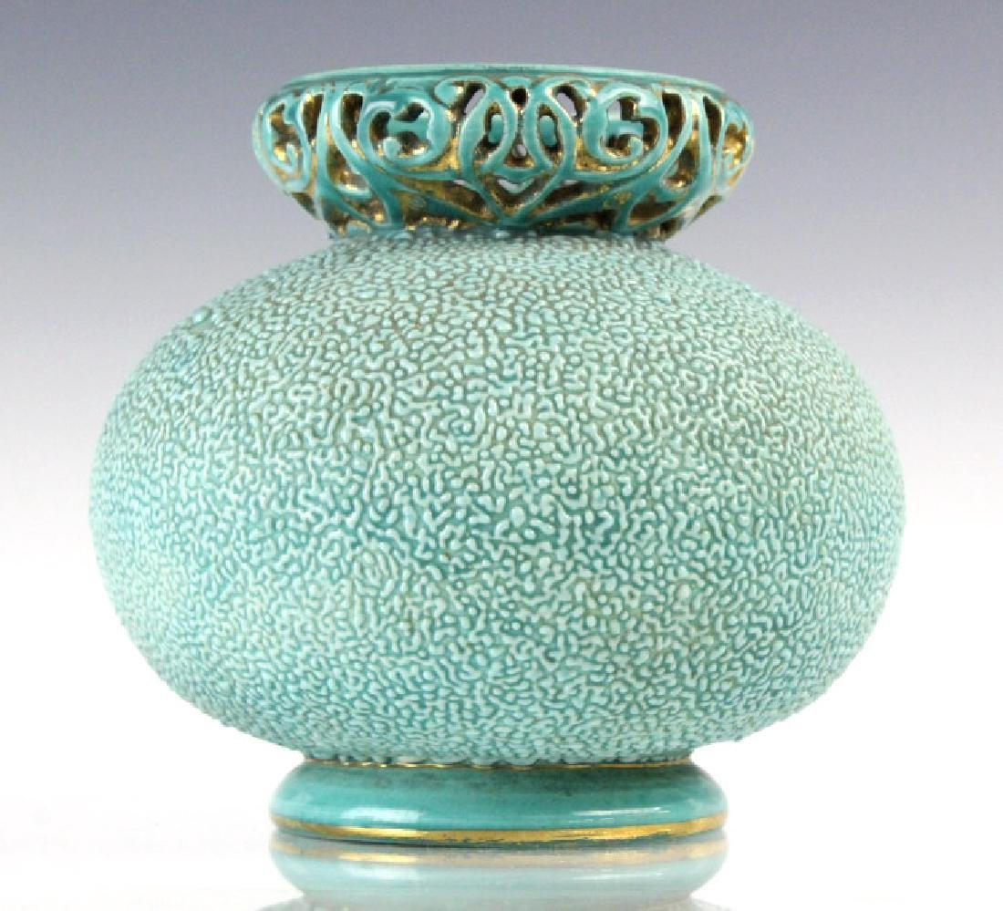 Zsolnay Gilt Floral Reticulated Turquoise Vase