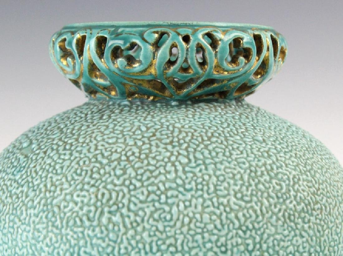 Zsolnay Gilt Floral Reticulated Turquoise Vase - 2
