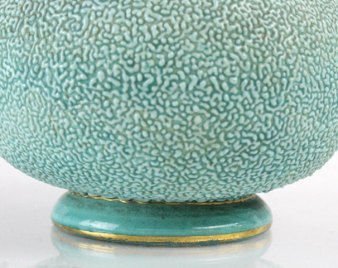 Zsolnay Gilt Floral Reticulated Turquoise Vase - 3