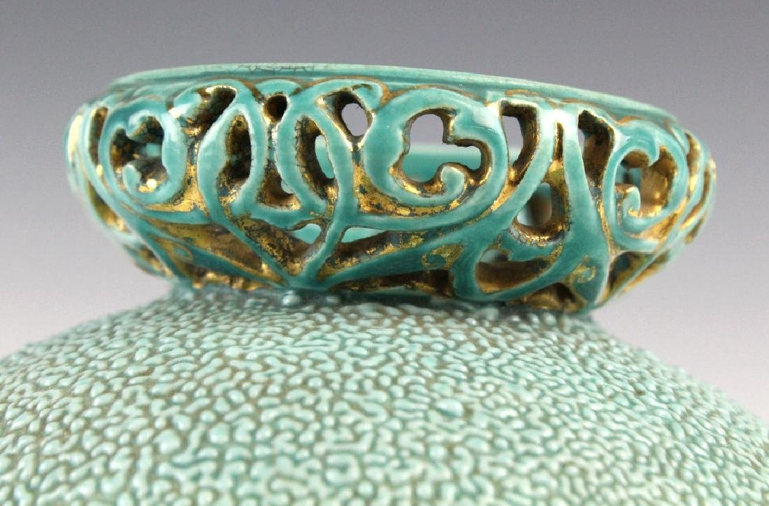 Zsolnay Gilt Floral Reticulated Turquoise Vase - 4