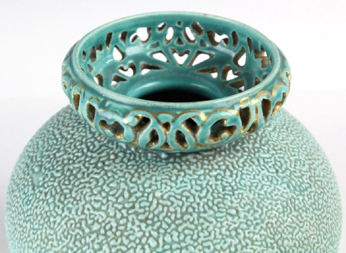 Zsolnay Gilt Floral Reticulated Turquoise Vase - 5