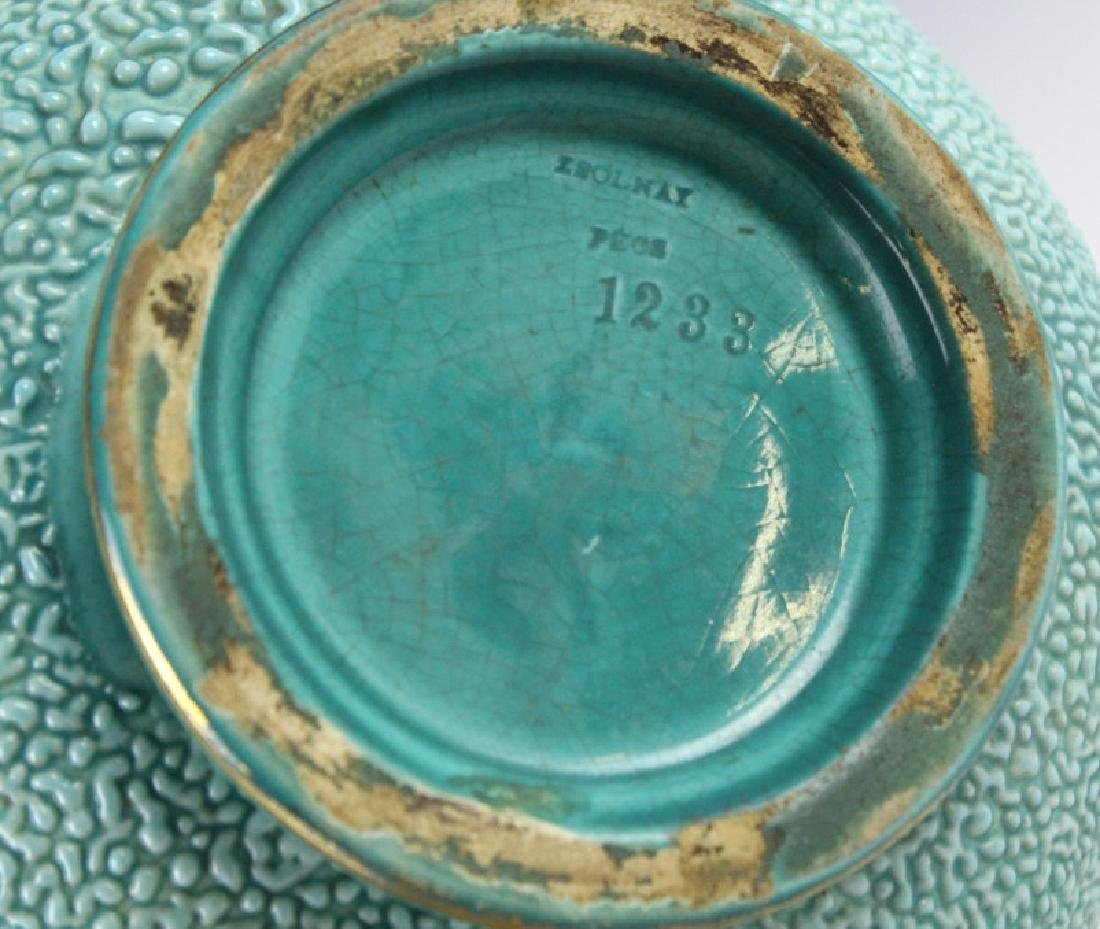 Zsolnay Gilt Floral Reticulated Turquoise Vase - 7