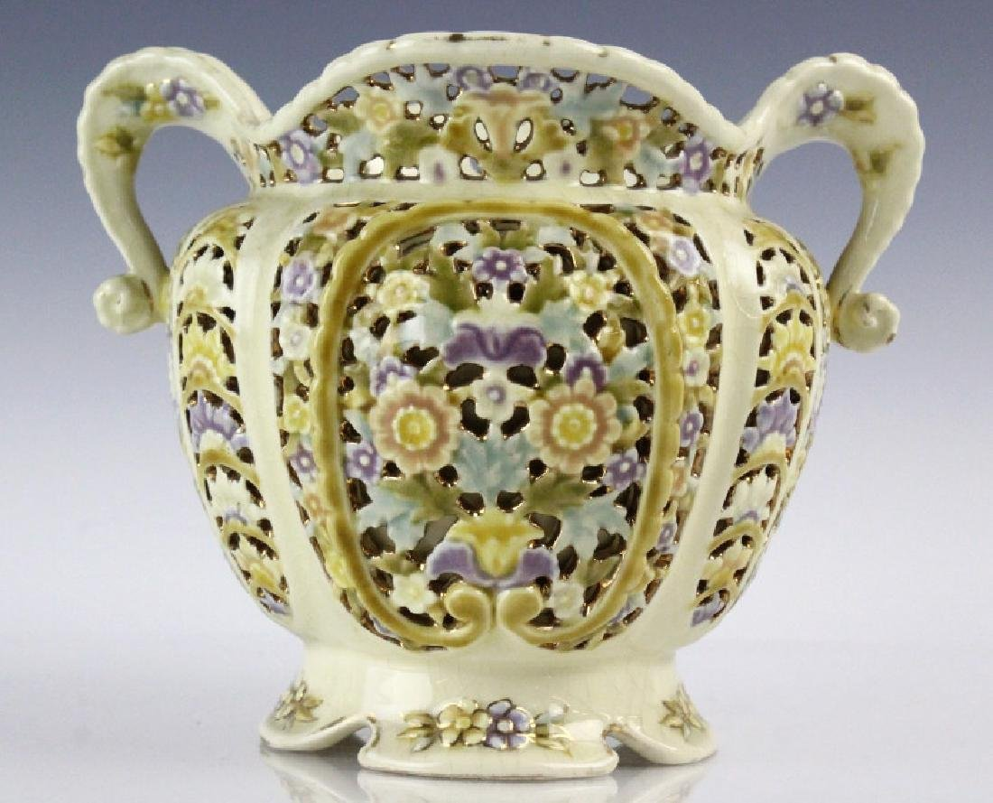Zsolnay Gilt Floral Reticulated Two Handled Vase