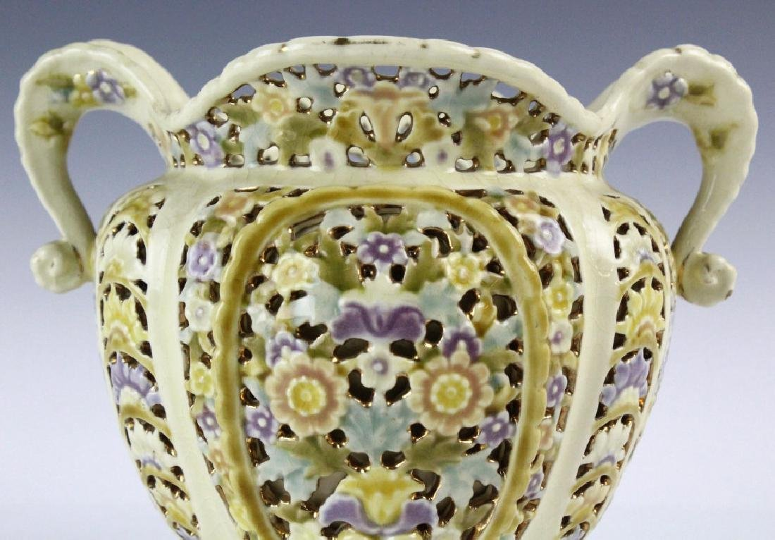 Zsolnay Gilt Floral Reticulated Two Handled Vase - 2