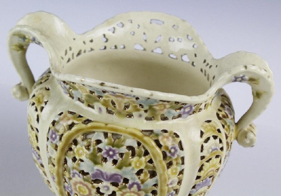 Zsolnay Gilt Floral Reticulated Two Handled Vase - 5
