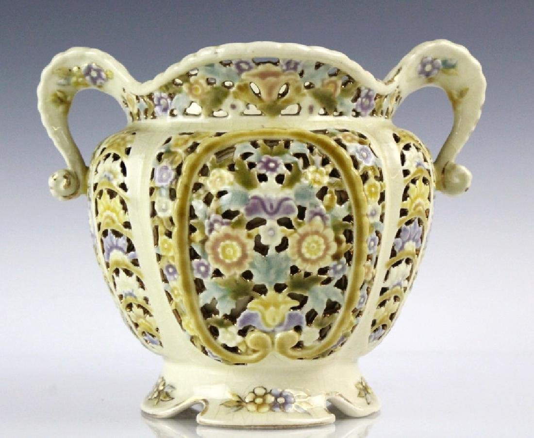 Zsolnay Gilt Floral Reticulated Two Handled Vase - 7