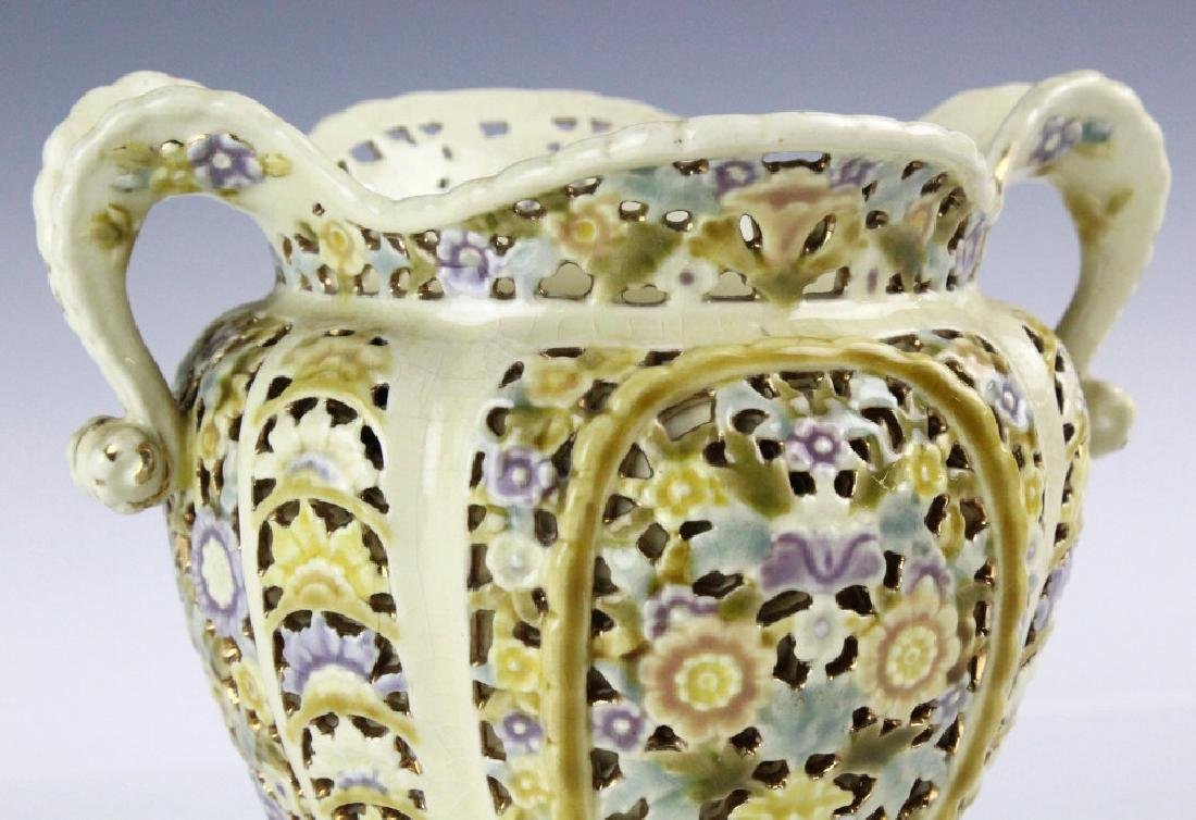 Zsolnay Gilt Floral Reticulated Two Handled Vase - 8