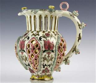 Zsolnay Floral Reticulated Art Pottery Puzzle Jug