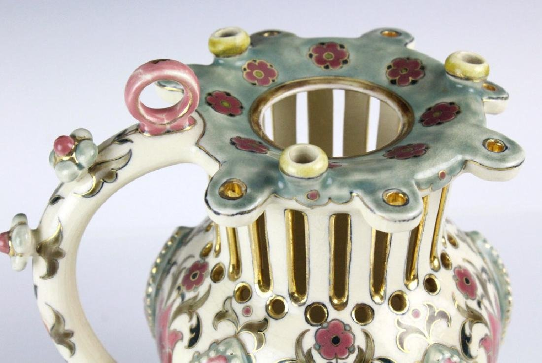 Zsolnay Floral Reticulated Art Pottery Puzzle Jug - 5