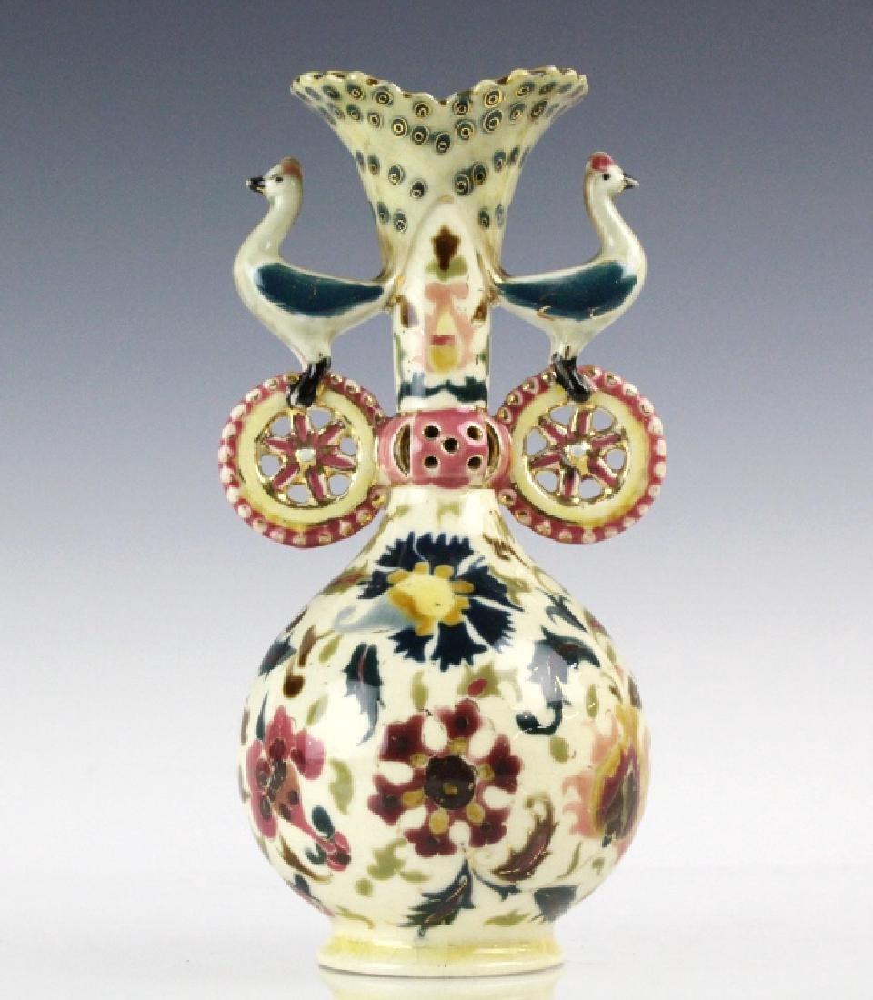 Zsolnay Art Pottery Gilt Reticulated Bird Bud Vase