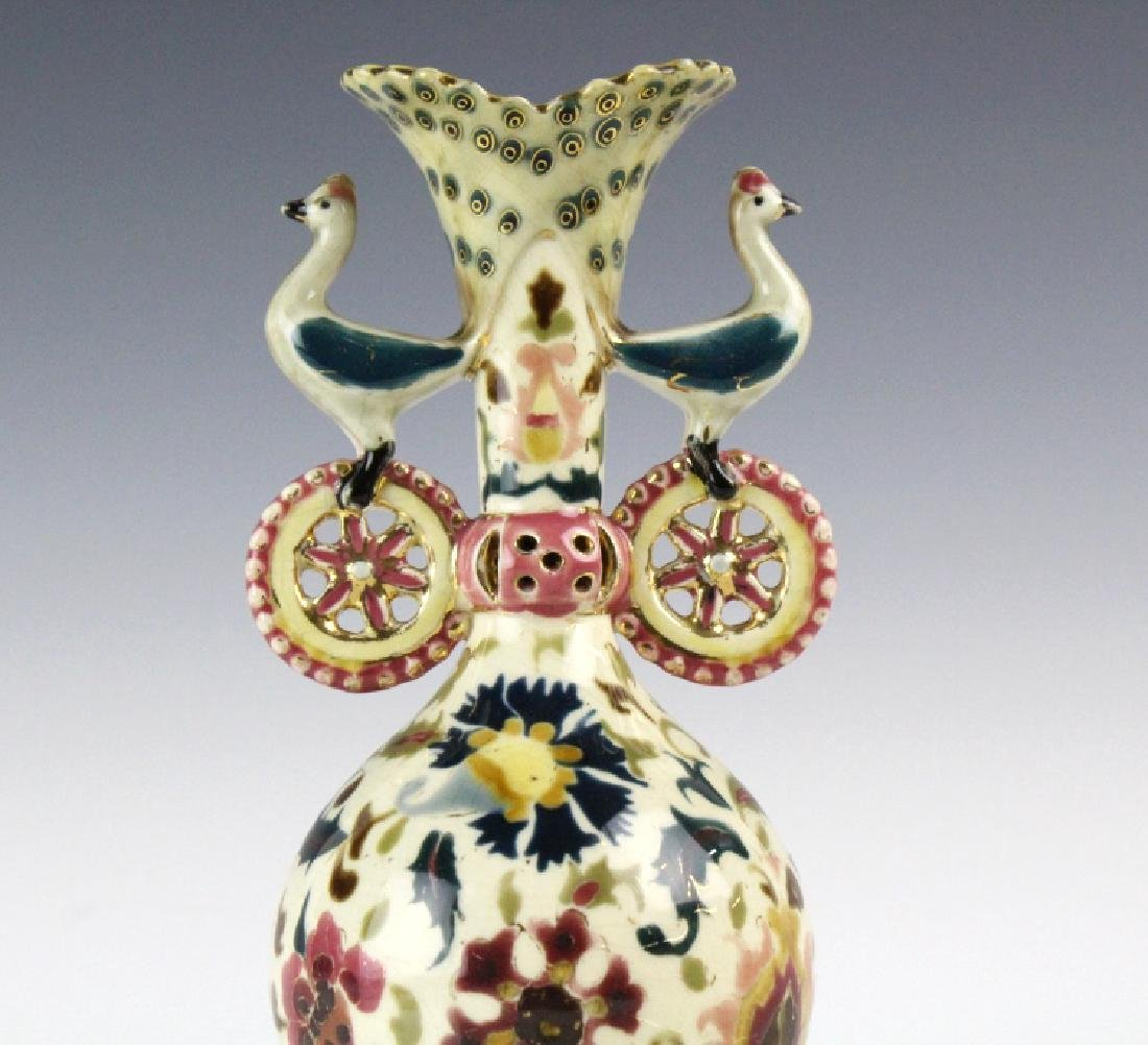 Zsolnay Art Pottery Gilt Reticulated Bird Bud Vase - 2