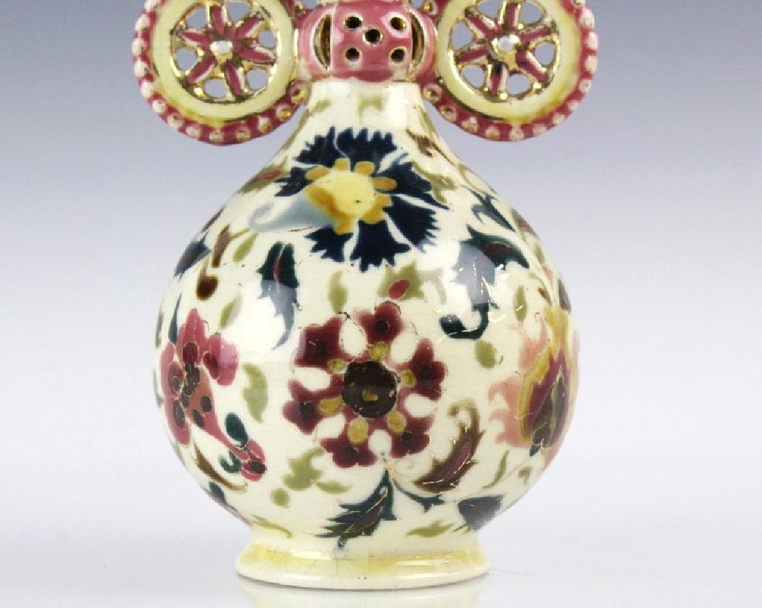 Zsolnay Art Pottery Gilt Reticulated Bird Bud Vase - 3