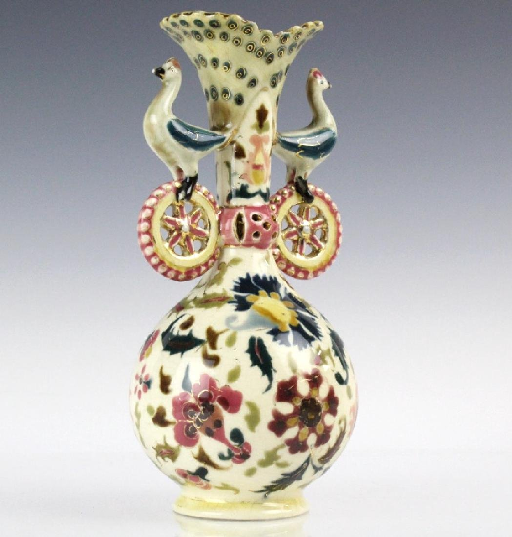 Zsolnay Art Pottery Gilt Reticulated Bird Bud Vase - 4