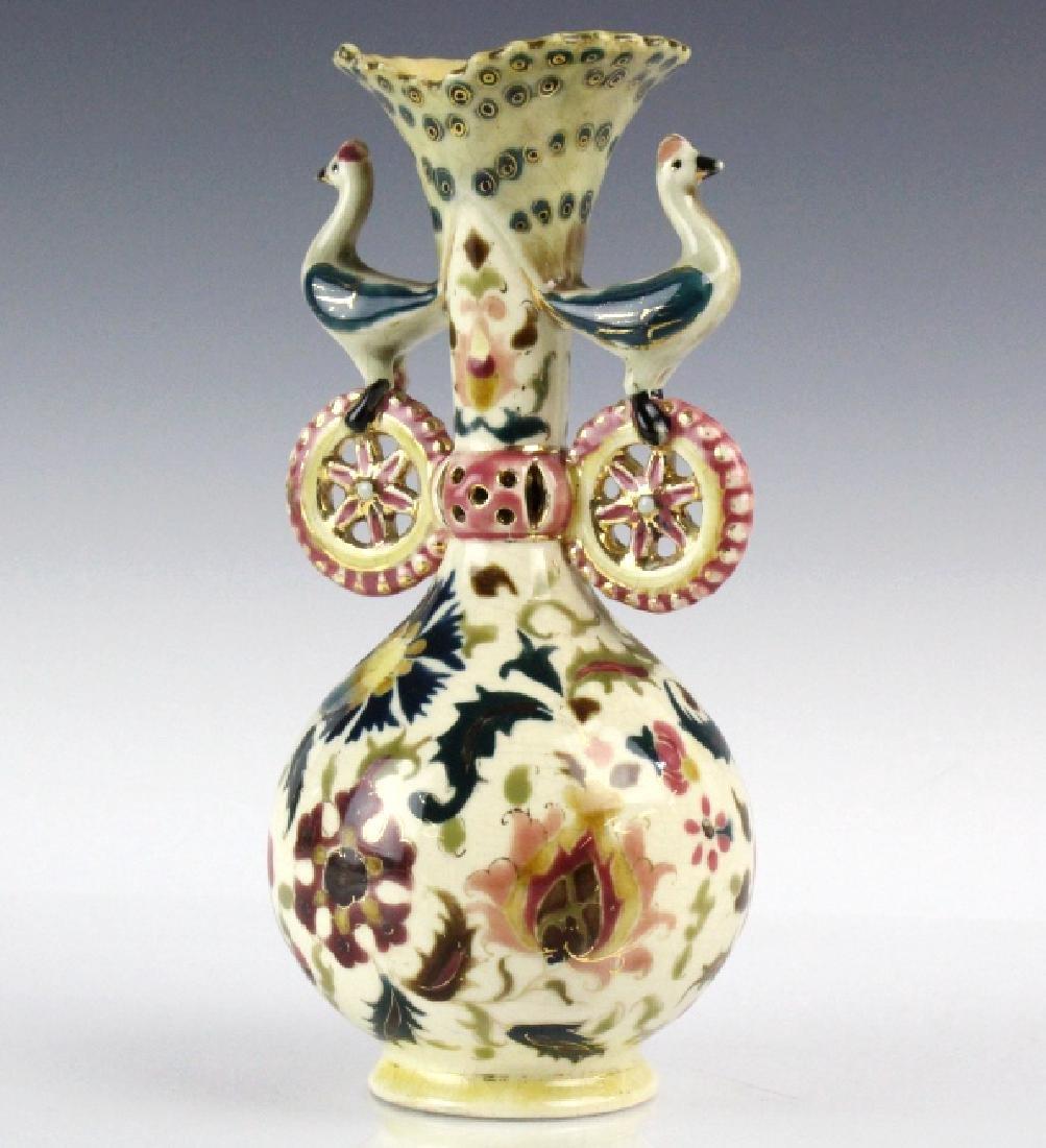 Zsolnay Art Pottery Gilt Reticulated Bird Bud Vase - 6