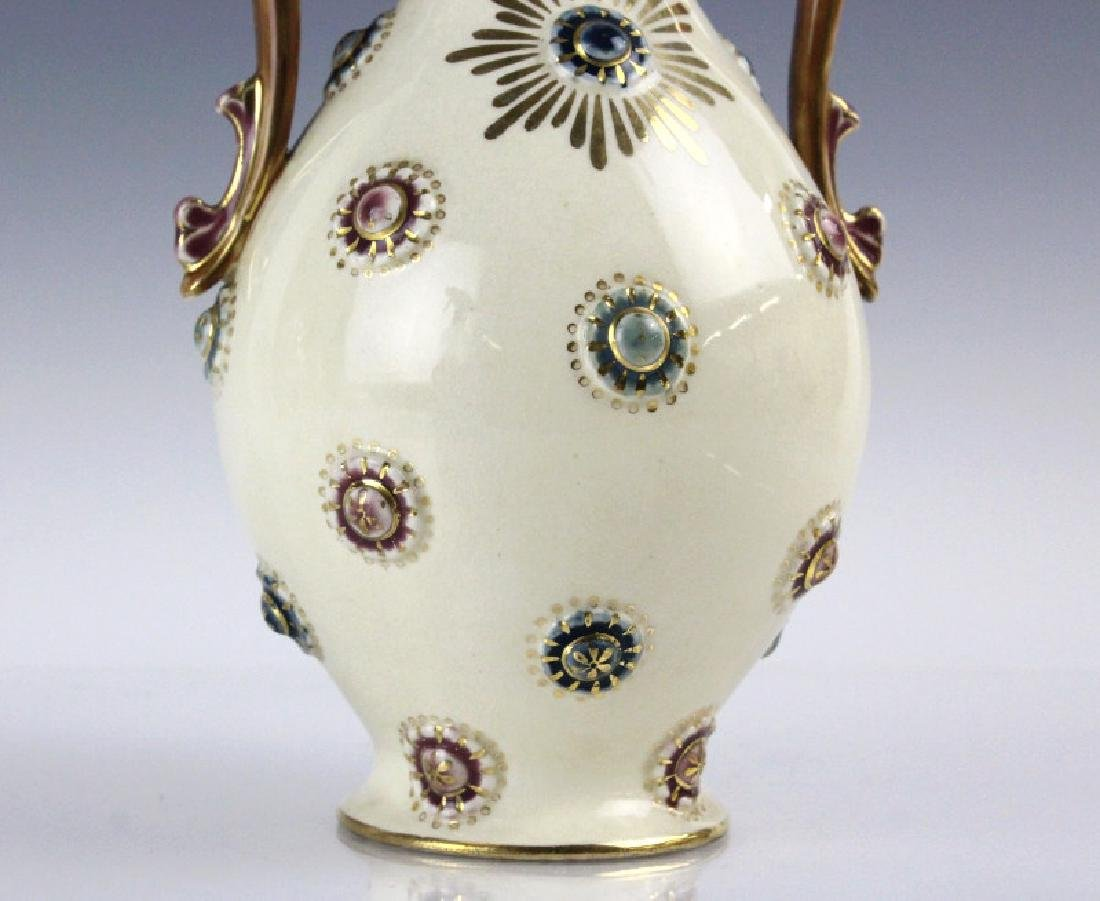 Zsolnay Art Pottery Gilt Reticulated Bottle Vase - 3