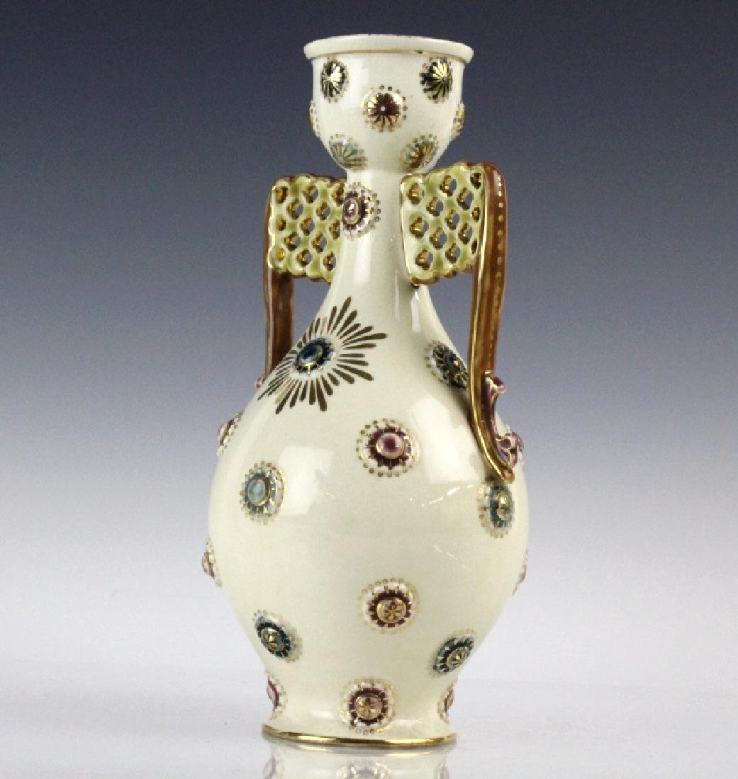 Zsolnay Art Pottery Gilt Reticulated Bottle Vase - 4