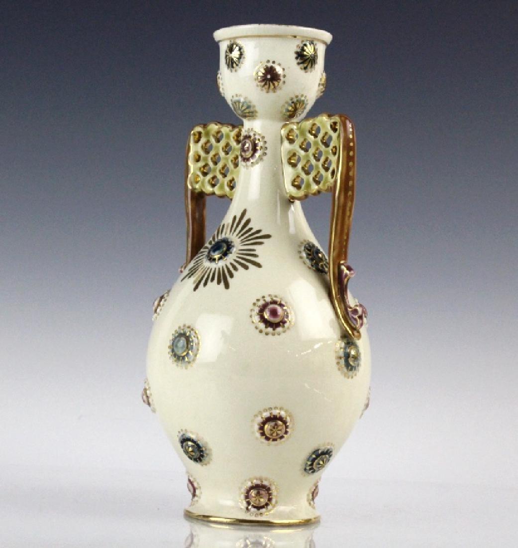 Zsolnay Art Pottery Gilt Reticulated Bottle Vase - 4