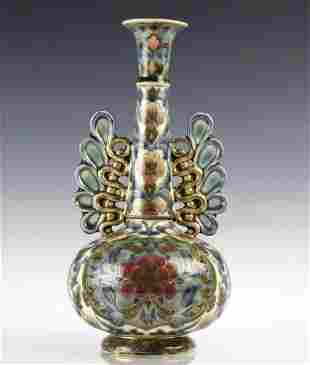 Zsolnay Art Pottery Gilt Reticulated Floral Vase