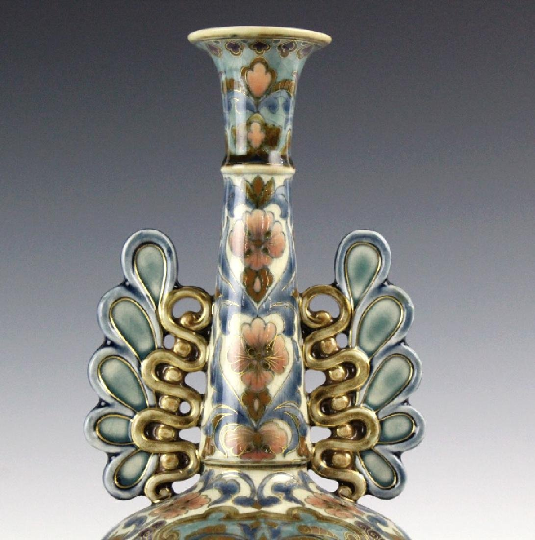 Zsolnay Art Pottery Gilt Reticulated Floral Vase - 2