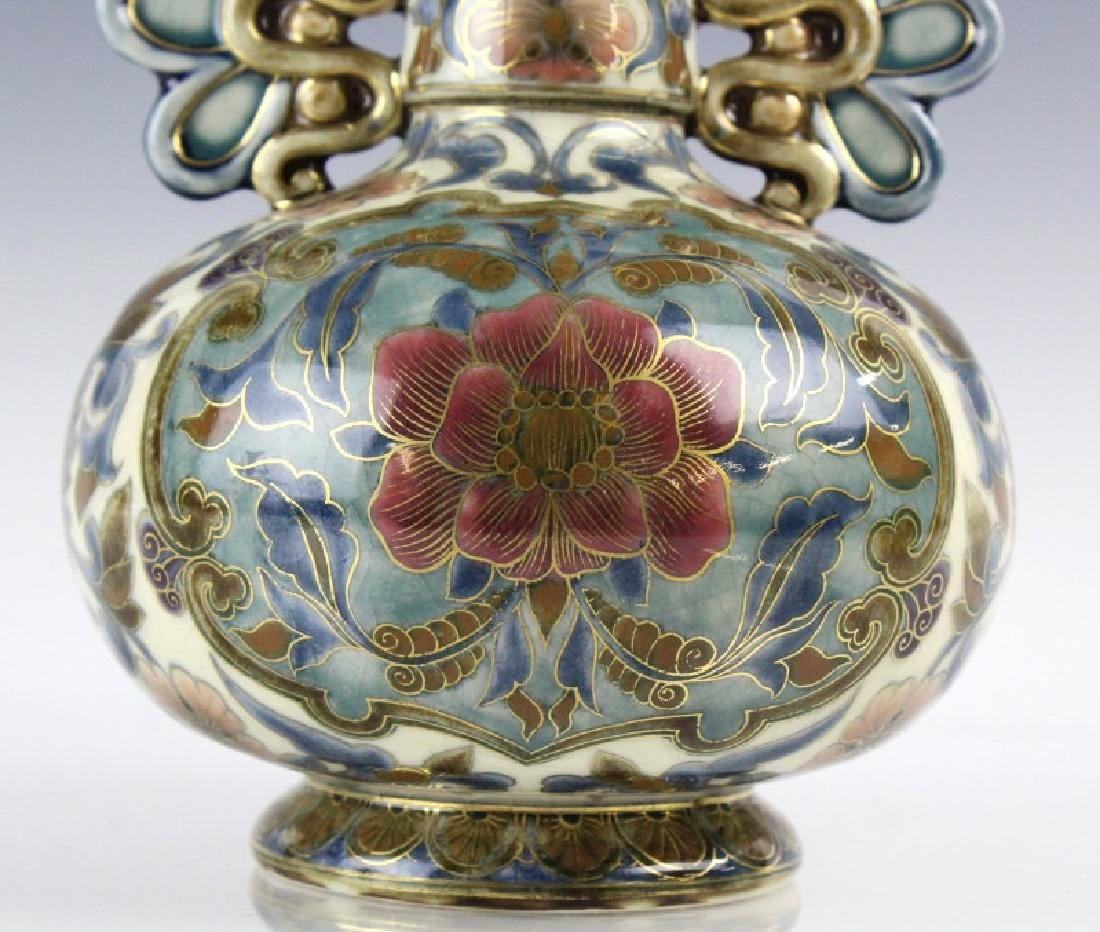 Zsolnay Art Pottery Gilt Reticulated Floral Vase - 3