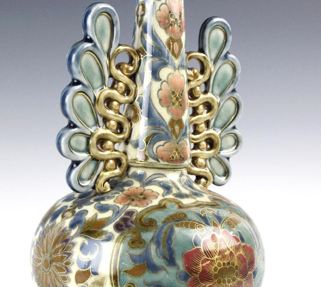 Zsolnay Art Pottery Gilt Reticulated Floral Vase - 6