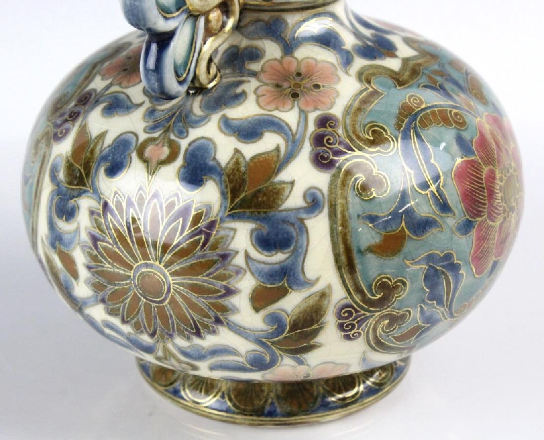 Zsolnay Art Pottery Gilt Reticulated Floral Vase - 7