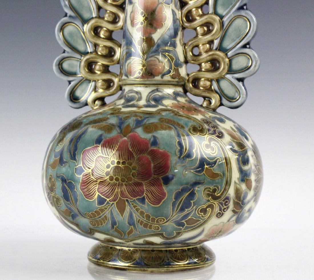 Zsolnay Art Pottery Gilt Reticulated Floral Vase - 8