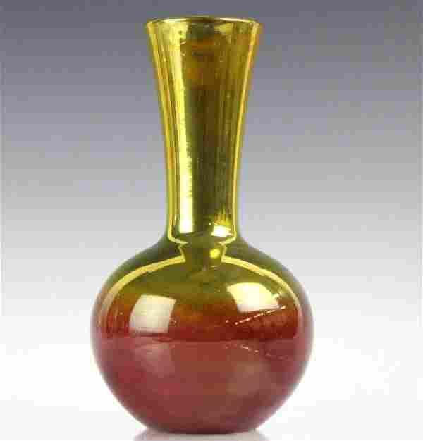 "Zsolnay Art Pottery Gilt & Red Japonist 9"" Vase"