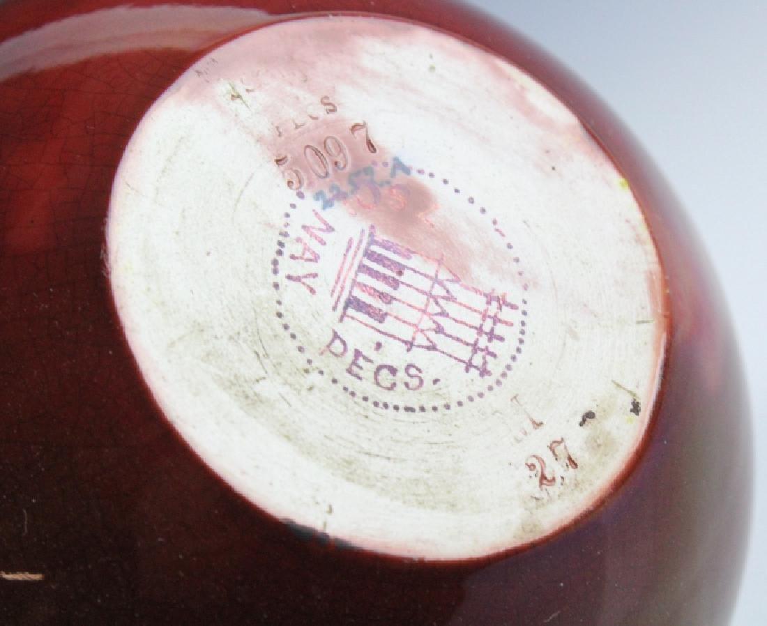 "Zsolnay Art Pottery Gilt & Red Japonist 9"" Vase - 8"