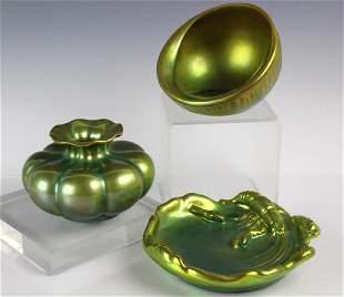 Estate Lot Of 3 Zsolnay Eosin Art Pottery Items
