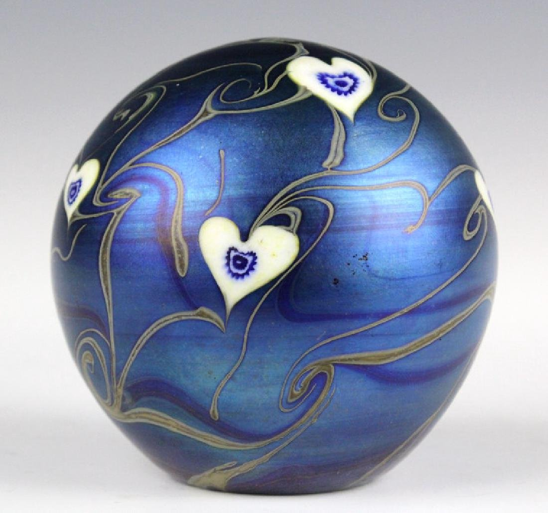 Signed Vandermark 1980 Art Glass Heart Paperweight