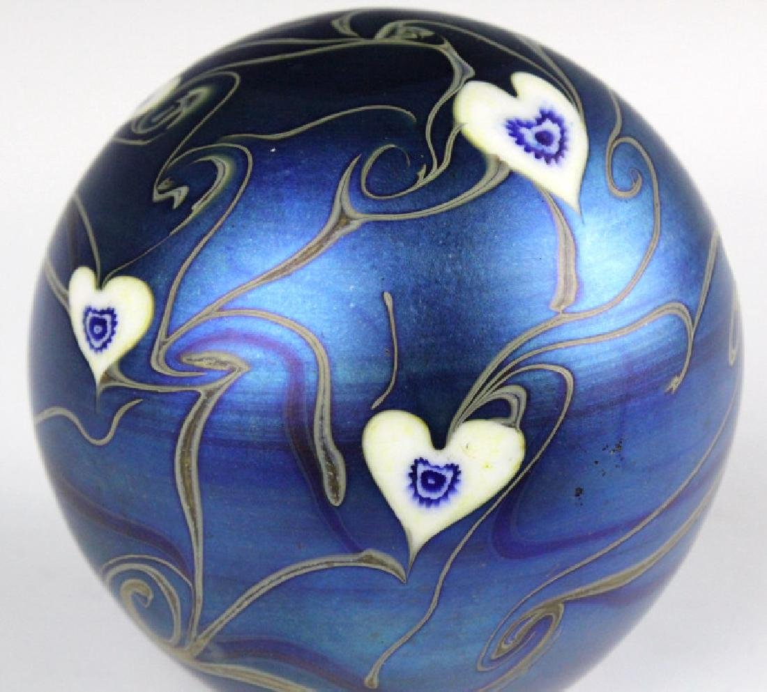 Signed Vandermark 1980 Art Glass Heart Paperweight - 2