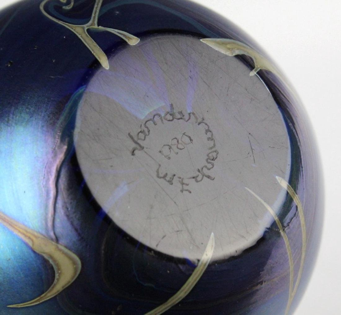 Signed Vandermark 1980 Art Glass Heart Paperweight - 7