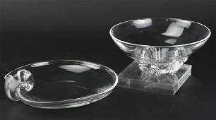 Pair Steuben American Art Glass Crystal Bowls