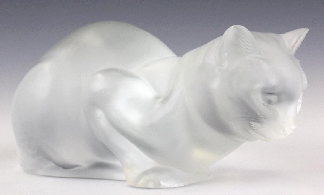 Lalique French Art Glass Crouching Cat Figurine