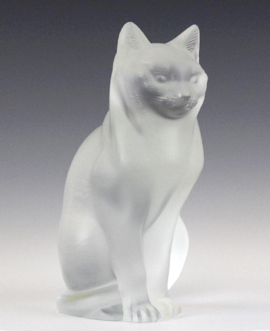 Lalique French Art Glass Sitting Cat Figurine