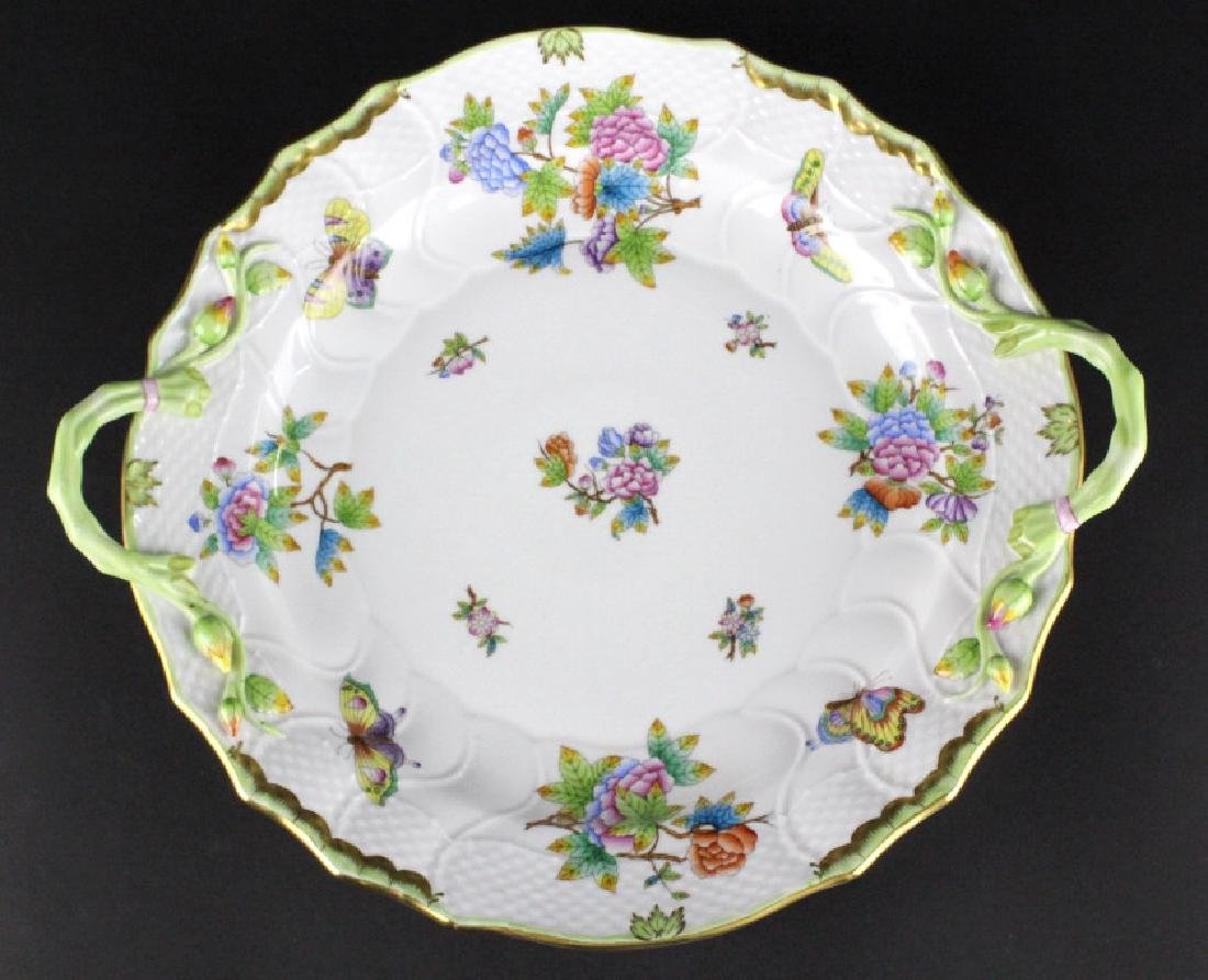 HEREND Queen Victoria Butterfly Handled Platter