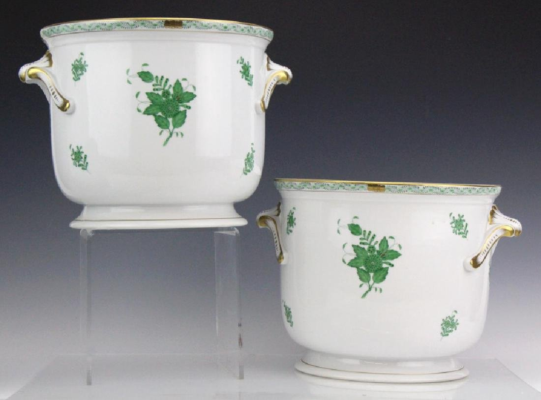 Pair Large Herend Chinese Bouquet Green Cache Pots