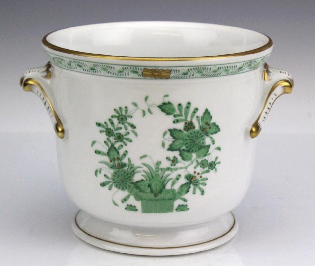 "Herend Indian Tree Green 5"" Porcelain Cache Pot"
