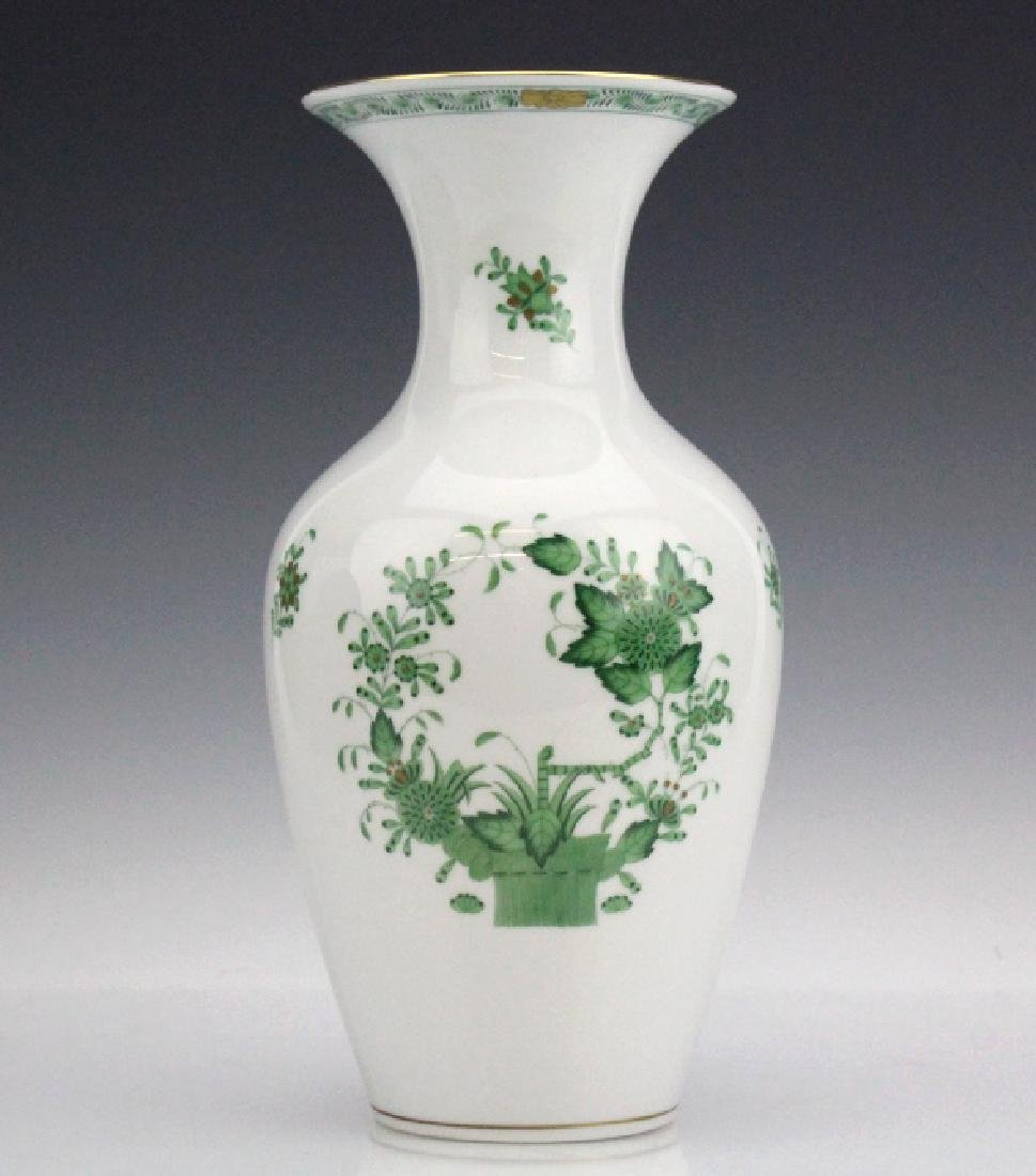 "Herend Indian Basket Green 10"" Porcelain Vase"