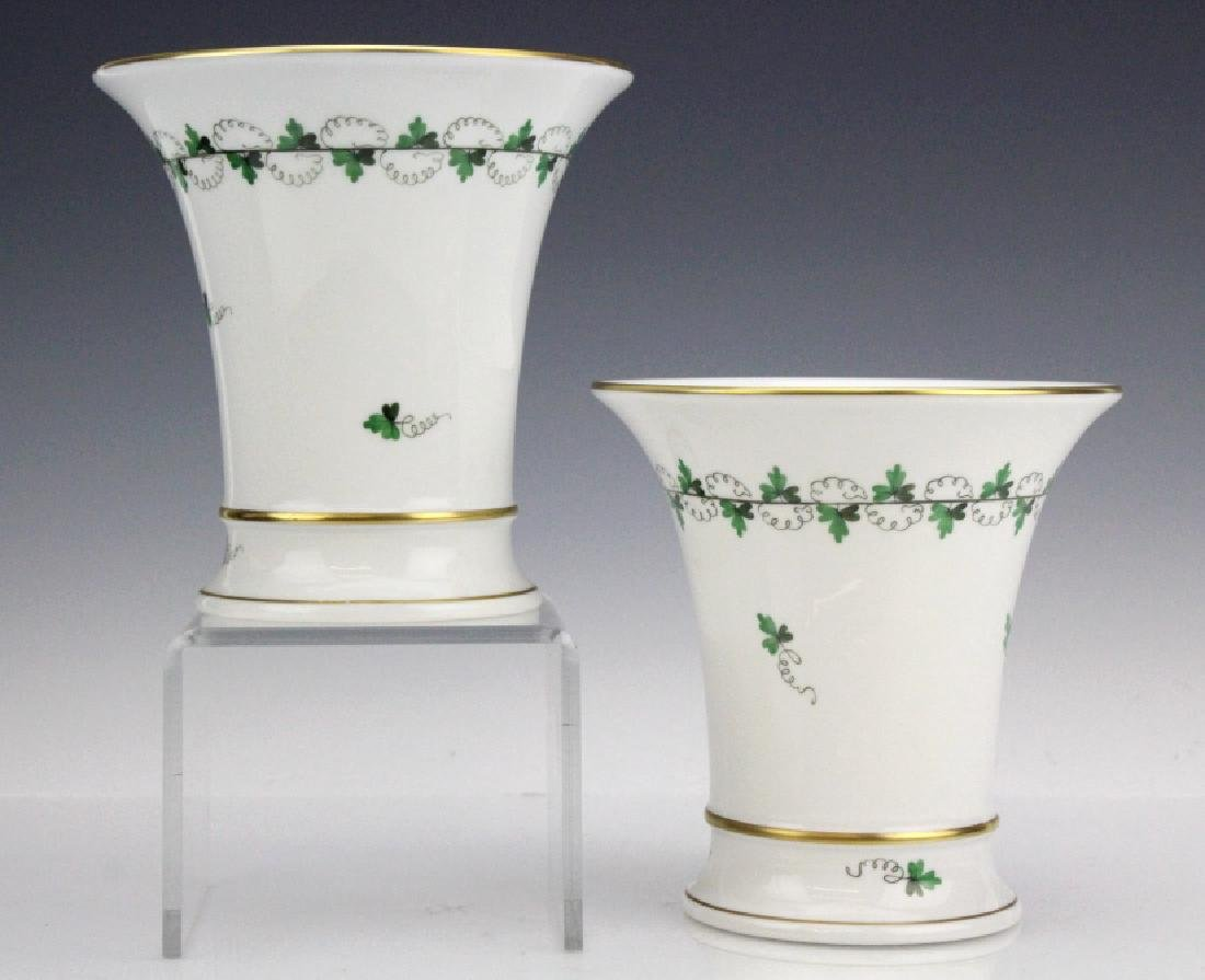 "Pair Herend Persil Green 5.75"" Porcelain Vases"