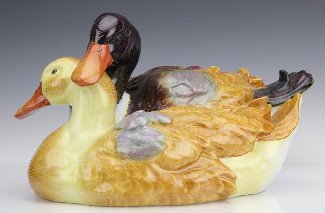 "Large 15"" Herend Cuddling Ducks Porcelain Figurine"
