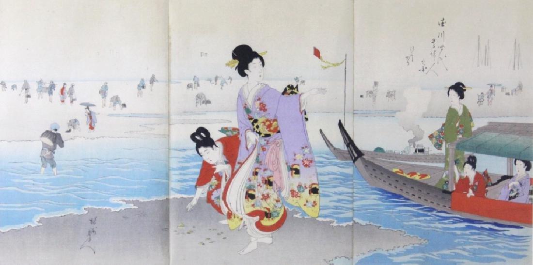Toyohara Chikanobu Japanese Woodblock Triptych